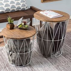 Nesting End Tables with Storage- Set of 2 Convertible Round Metal Basket Veneer Wood Top Accent Side Tables for Home and Office By Lavish Home (White) Nesting End Tables, Metal End Tables, End Table Sets, End Tables With Storage, Table Storage, Side Tables, Storage Basket, Modern End Tables, Small End Tables