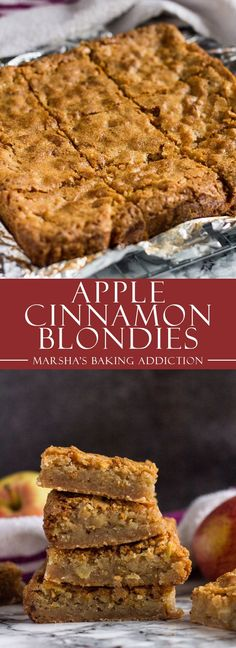 Apple Cinnamon Blondies - These cinnamon-spiced blondies are incredibly thick and chewy with a lovely crinkly top, and stuffed full of juicy apple chunks! Brownie Recipes, Cookie Recipes, Dessert Recipes, Easy Desserts, Delicious Desserts, Yummy Food, Fall Recipes, Sweet Recipes, Cake Vegan