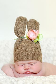 Baby Bunny Hat  made from Esty Seller here www.etsy.com/shop/BrittysPrettyClippys