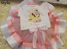 First Birthday Baby Minnie Mouse tutu order or follow us on Facebook ; www.facebook.com/... #babyminniemouse #pinkpolkadotribbontutu #firstbirthday #styloboutique