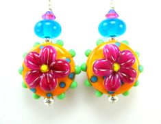 Pink Orange Green Floral Lampwork Earrings, Hot Pink Orange Blue Lime Glass Bead Earrings, Crystal Sterling Silver - Bright Future