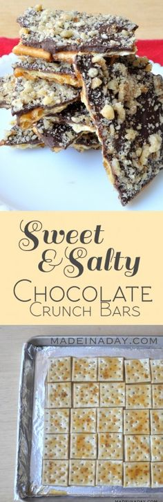 Sweet and Salty Chocolate Crunch Bars madeinaday