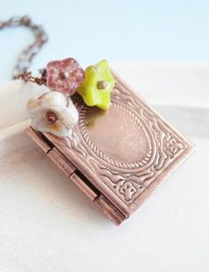 Book Locket Necklace Teacher Gift or Student