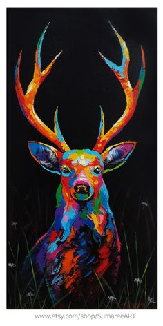 Deer painting acrylic on canvas by Sumaree Nunsang Black Canvas Art, Black Canvas Paintings, Indian Art Paintings, Acrylic Painting Canvas, Acrylic Painting Animals, Deer Paintings, Canvas Canvas, Abstract Paintings, Colorful Animal Paintings