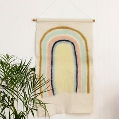 Introducing our newest product which is the felt wall art and we couldn't think of a better motive than a rainbow. Suitable for both kids and adult room you can add a bit of whimsy with our rainbow wall hanging. At a generous size it makes quite a Rainbow Room Kids, Rainbow Nursery, Rainbow Wall, Rainbow Print, Boho Nursery, Nursery Wall Art, Felt Wall Hanging, Greenhouse Interiors, Rainbow Painting