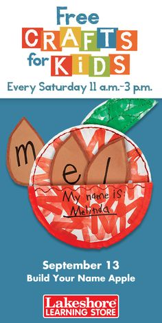 Join us Saturday, September 13 from 11 a.m. - 3 p.m. at any Lakeshore Learning Store for #FreeCraftsforKids! Kids gear up for fall…with this festive apple craft that includes giant paper apple seeds for spelling their names!
