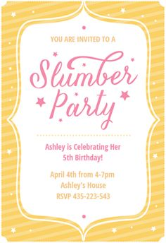 7 free printable sleepover invitations your daughter will love party stars slumber party invite from greetings island