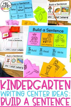 Needing some fresh kindergarten writing center ideas for your classroom? This build a sentence kindergarten writing activity is a great option! Students choose The Who, did what and where for each sentence, and then record it on the kindergarten writing paper.