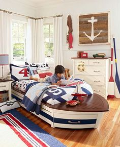 Regatta Bedroom | Pottery Barn Kids...I can just see us trying to figure out how to fit this bed into Parker's tiny little room at the beach...lol...
