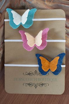 Felt Butterfly Trio Headband set of 3  Kid by hopscotchboutique,