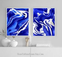 Blue Abstract Painting Set of 2 Prints Blue Painting Printable Wall Art Royal Blue Navy Contemporary Art Downloadable Print Abstract Artwork