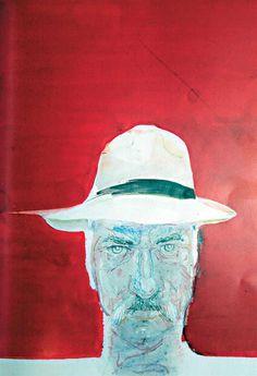 Red with hat - Chronis Botsoglou Art Database, Hats For Men, Modern Art, Portrait, Artist, Artwork, Red, Style, Paintings