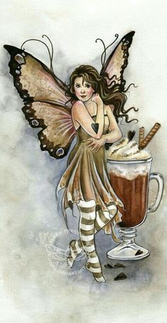 ☆ Art by - Prosvirina, Janna Hot Chocolate Fairy ☆ Fairy Dust, Fairy Land, Fairy Tales, Unicorn And Fairies, Elves And Fairies, Dream Fantasy, Fantasy Art, Amy Brown Fairies, Dark Fairies