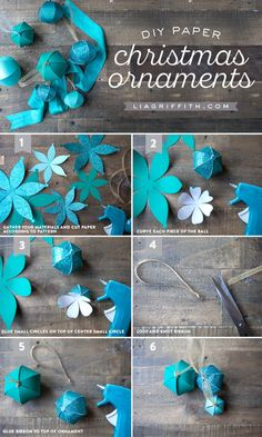 DIY Teal Paper Ornaments Tutorial MichaelsMakers Lia Griffith