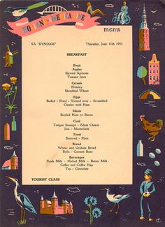 Another 1953 Cruise Ship Breakfast Menu Great Graphics by SeagullIsland, $ 4.00