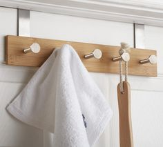 Bamboo hooks for over the door. To match my bamboo bathroom :)