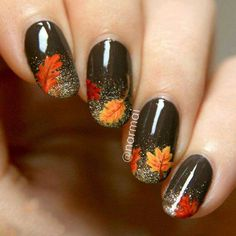 I had this fall nail art design burn a hole in my imagination, so I thought I& just make it and show you, despite the amazing weather. I put my bottle of Picture Polish Malt Teaser and China Glaze I& Not Lion to good use. Oh and I have a video tutorial! Fancy Nails, Love Nails, Pretty Nails, Seasonal Nails, Holiday Nails, Nail Design Glitter, Fall Nail Art Designs, Fall Designs, Thanksgiving Nails