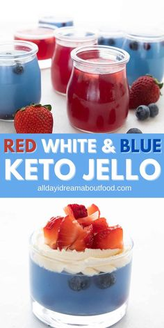 Homemade sugar-free jello is far easier than you think! With no artificial sweeteners or colors, this keto jello is a fun and healthy dessert recipe. Make them red white and blue for the 4th of July! Low Carb Desserts, Healthy Dessert Recipes, Ketogenic Desserts, Jello Recipes, Keto Friendly Desserts, Low Carb Sweets, Keto Snacks, Mug Recipes, Keto Dessert Easy