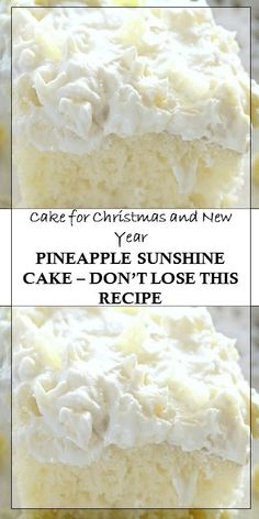 Pineapple Sunshine Cake– Don't Lose This Recipes, Cake for Christmas and New Year Köstliche Desserts, Delicious Desserts, Dessert Recipes, Yummy Food, Dinner Recipes, Pinapple Cake, Pinapple Sunshine Cake, Crushed Pineapple Cake, Pineapple Cupcakes