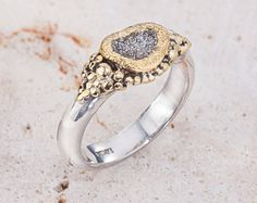 Raw Diamond Ring Rough Diamond Ring Wedding Ring by GefenJewelry, $540.00