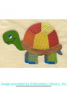 Stickmotiv Stickbild Aufnäher Stickerei Emblem Schildkröte  Schildkröte /  Stickerei Patchwork Turtle (A2254)