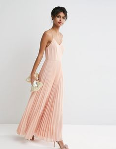 a2faa3f8eef7 ASOS Woven Cami Maxi Dress With Pleated Skirt at asos.com