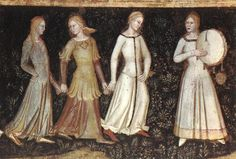 Cotehardies are the fitted dresses (women) and tops (men) seen on most western Europeans in the mid to late 14th century. Italian 1365-68.