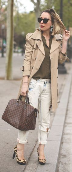 Outfit ideas. Trench coat. Leopard pumps. Green top. Zara Denim Bleached Boyfriend Jeans by My Showroom Blog