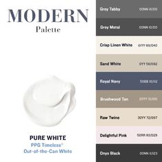 HGTV's Leanne Ford has partnered with PPG to pick the best colors of white paint for your next interior painting project! White Paint Colors, Kitchen Paint Colors, Bedroom Paint Colors, White Paints, Paint Color Palettes, Colour Pallete, House Painting, Diy Painting, Interior Painting