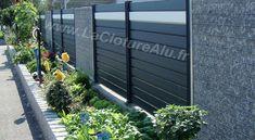 Clôture Gris Anthracite RAL 7016 mélangée avec une lame Blanche RAL 9010 Pvc, Photos, Outdoor Structures, Gardens, Hu Ge, Diy Ideas For Home, Pictures