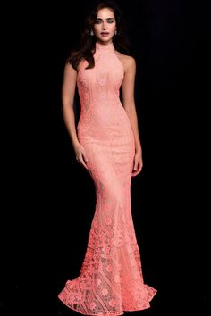 77d51136 57400 High Halter Jeweled Lace Gown by Jovani at CoutureCandy.com Event  Dresses, Grad
