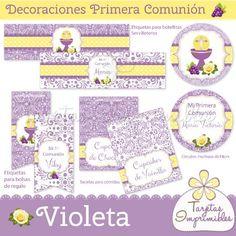 Decoraciones imprimibles Violeta para primera comunión