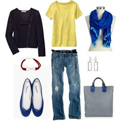 """""""Pop of Yellow"""" by bluehydrangea on Polyvore I love those jeans and that shirt. I don't do flats tho"""