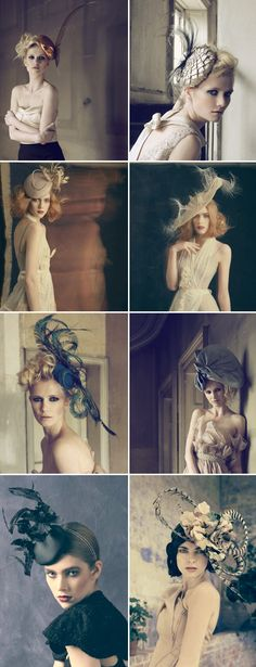 beautiful wedding fascinators and hats from British designer Jane Taylor Millinery via JunebugWeddings.com  like the sculptural nature of these. Not just flowers and feathers and hot glue . . .