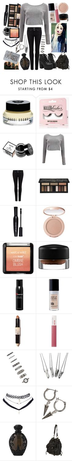 """""""Take off your makeup and put down the camera, choke on the drama that makes me want to, tear up the pictures, the pages you've saved"""" by thelyricsmatter ❤ liked on Polyvore featuring Bobbi Brown Cosmetics, NYX, Boohoo, Paige Denim, Kat Von D, Forever 21, tarte, MAC Cosmetics, Morphe and Maybelline"""