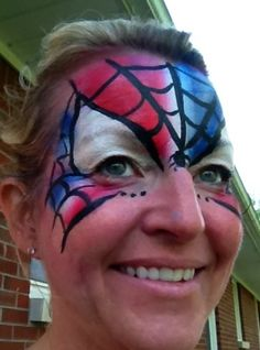 Red white and blue Spider-Man for the fourth of july face painting