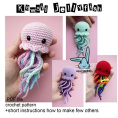 Kawaii Jellyfish - amigurumi crochet pattern. PDF file. Languages - English, French, Norwegian, Dutch by BlueRabbitLV on Etsy https://www.etsy.com/listing/525768441/kawaii-jellyfish-amigurumi-crochet