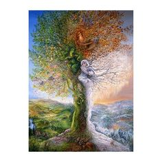 Josephine Wall: Tree of Four Seasons ❤ liked on Polyvore