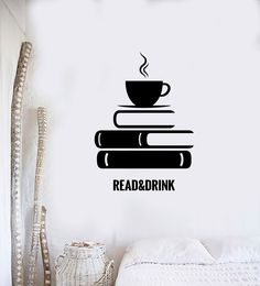 Read and Drink Vinyl Wall Decal Simple Wall Paintings, Creative Wall Painting, Wall Painting Decor, Tape Wall Art, Diy Wall Art, Diy Wall Decor, Quotes For Wall Decor, Bedroom Wall Designs, Wall Art Designs