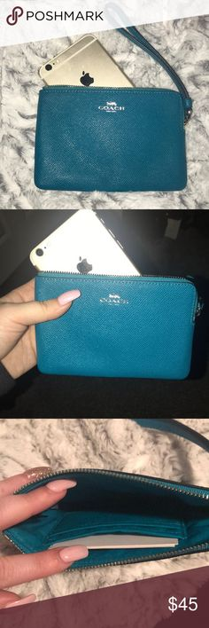 NWOT Coach Leather Wristlet Turquoise blue color. Silver hardware. Brand new without tags no flaws. SiZe comparison to iPhone 6 Plus Coach Bags Clutches & Wristlets