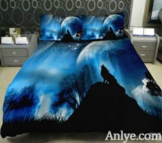 Bedding Collections Of Home Decor Set 2 Sides Printing wolf Quilt  Duvet Cover animal Bedspreads With 2 Matching moon Decorative Pillow Covers