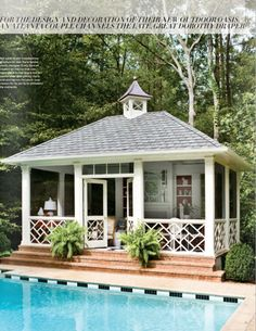 Charming pool house porch. Atlanta Homes & Lifestyles. March 2012. Atlanta Homes, Beautiful Pools, Beautiful Places, Screened In Porch, Pool Porch, House Porch, Front Porch, Pool Cabana, Dream Pools