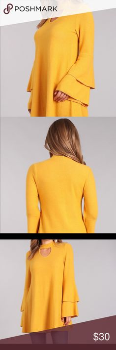 """✳️ Sexy Mock Neck Keyhole Tunic (Mustard) This tunic is super soft and comfortable while keeping you in style for the Winter.   It has long bell sleeves and is a great Mustard color that is the perfect neutral for the season. Would look great with a new pair of boots  Material: 62% Polyester 33% Rayon 5% Spandex      Made in the USA  Sizing:    Small     Med    Large  Bust:        34""""        36""""       38""""  Length:     30""""       31""""       31""""  Sleeve:     25""""       25""""      25""""  **All…"""