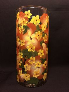 Hand Painted Vase  Blossoms  Pansy Brown w Yellow by EverMyHart