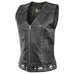 Xelement 'Dakota' Womens Leather Motorcycle Vest