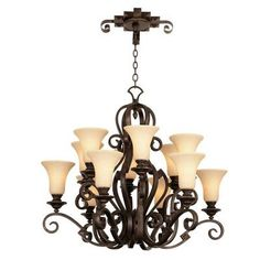 Kalco Ibiza 12 Light Shaded Chandelier Finish: Copper Claret, Shade Type: Large Beige
