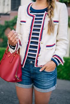 Luisaviaroma - J.Crew jacket, Sonia Rykiel top and Ferragamo flats, c/o Luisaviaroma AG shorts and Prada bag