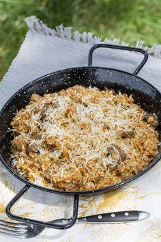 Magyaros rizottó recept a Balatonról | Street Kitchen Pork, Food And Drink, Ethnic Recipes, Food, Kale Stir Fry, Pork Chops