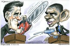 Romney's Buzz Saw of Obama - Taylor Jones - Politicalcartoons.com - Los Grandes Debatientes - Spanish - Barack,Obama,presidente,USA,GOP,Mitt,Romney,eleccion,2012,campaña,debate,presidencial,Denver,Colorado,primer,debate,post,debate