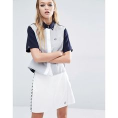 Fred Perry Boxy Shirt With Colour Block (380 SAR) ❤ liked on Polyvore featuring tops, navy, boxy shirt, relax shirt, colorblock top, navy shirt and block shirt